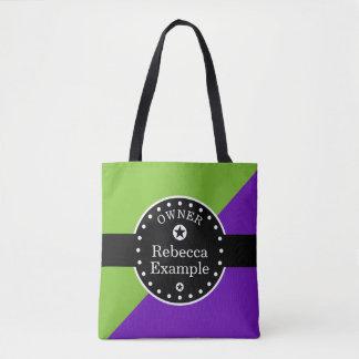 Svart baner & rektanglar - lila + dina idéer tygkasse