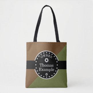 Svart baner & rektanglar - oliv + dina idéer tygkasse
