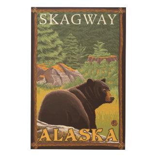 Svart björn i skogen - Skagway, Alaska Trätavla