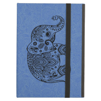 Svart blom- Paisley elefanter på blåttbakgrund iPad Air Skydd