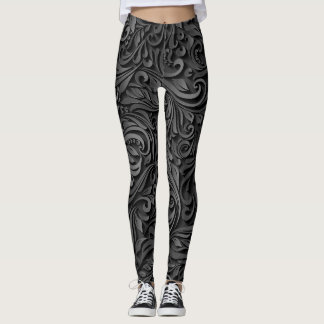 Svart broderi leggings