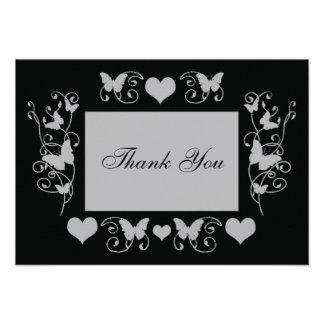 Svart brölloproligt tackar dig att card anpassningsbara inbjudningskort
