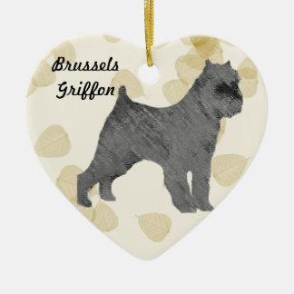 Svart Bryssel Griffon på solbrännalövdesigner Julgransprydnad Keramik