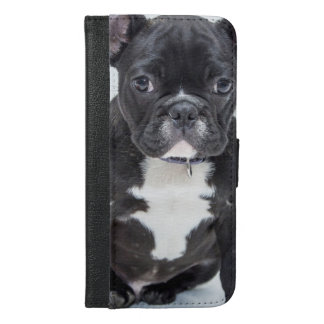 Svart bulldogg iPhone 6/6s plus plånboksfodral