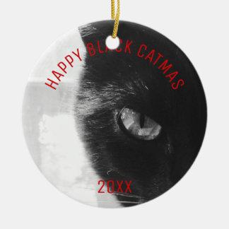 Svart Catmas för fotoprydnadlycklig Rund Julgransprydnad I Keramik