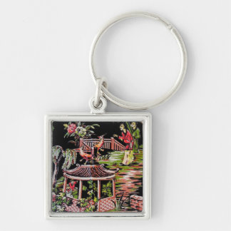 Svart Chinoiserietyg Keychain för vintage Fyrkantig Silverfärgad Nyckelring