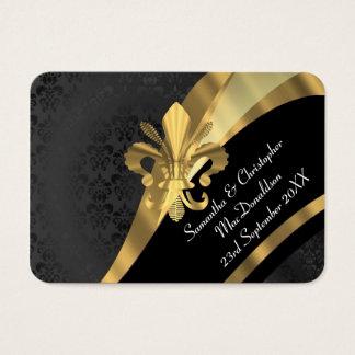 Svart damast, den guld- bröllopfavören tackar dig visitkort