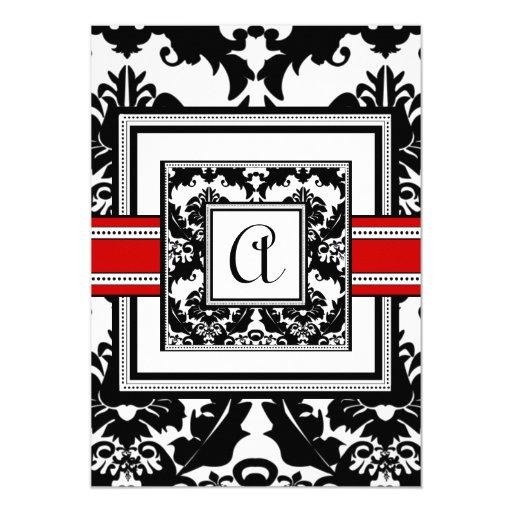 Svart damast med röd välskött bröllopinbjudan 12,7 x 17,8 cm inbjudningskort