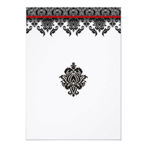 Svart damast på röd välskött bröllopinbjudan för 12,7 x 17,8 cm inbjudningskort