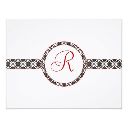 Svart damast på rött välsköttt bröllopsvar för vit 10,8 x 14 cm inbjudningskort