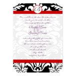 Svart damast virvlar runt rött välsköttt 12,7 x 17,8 cm inbjudningskort