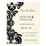 Svart damastast bröllop spara datum för vintage