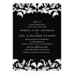 Svart damastast bröllopinbjudan för elegant personliga inbjudningskort