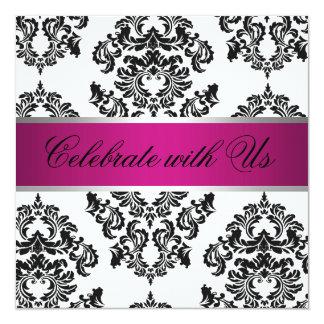 Svart damastast bröllopinbjudan för rosor fyrkantigt 13,3 cm inbjudningskort