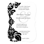Svart damastast bröllopinbjudningar för vintage anpassade inbjudan