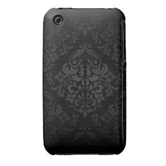 Svart damastast designblackberry curvefodral iPhone 3 fodral