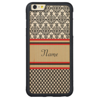 Svart damastast Monogram Carved® Maple iPhone 6 Plus Bumper Skal