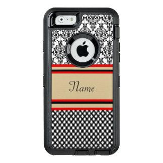 Svart damastast Monogram OtterBox iPhone 6/6s Fodral