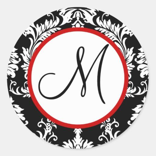 Svart damastast Monogrambröllop förseglar Runt Klistermärke