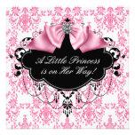 Svart damastast Princess baby shower för rosor Personliga Inbjudningskort