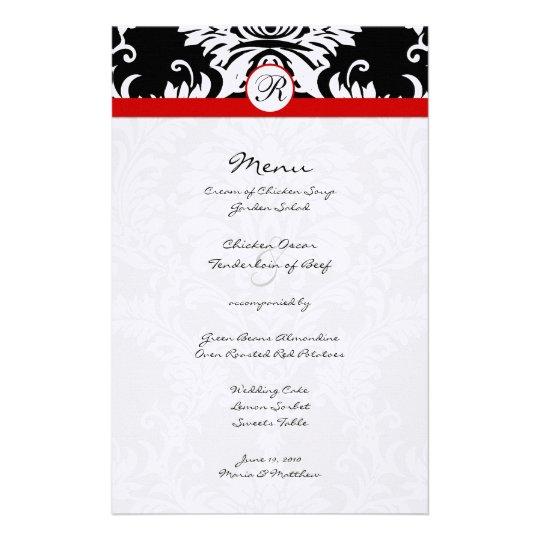Svart damastast röd välskött bröllopmeny brevpapper