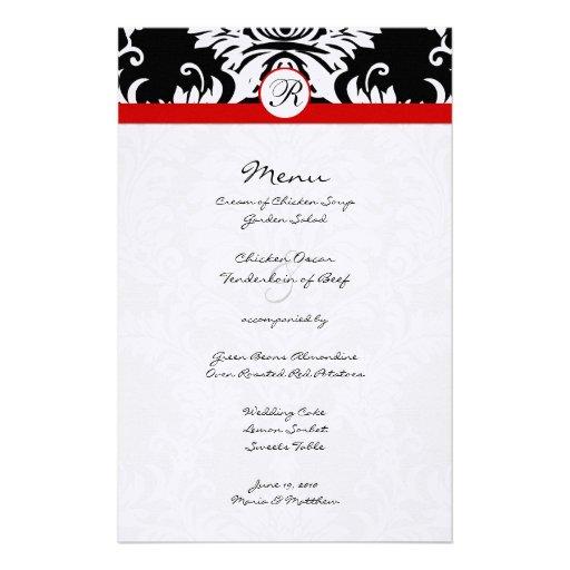 Svart damastast röd välskött bröllopmeny anpassningsbara brevpapper