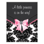 Svart damastast rosa Princess baby shower Anpassningsbara Inbjudningskort