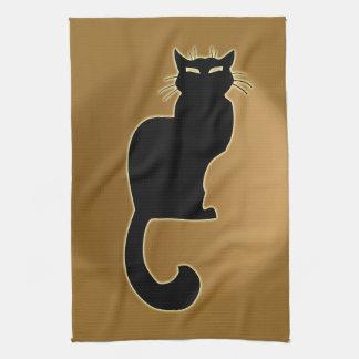 Svart dekor för katt för handdukar för Tea för kon