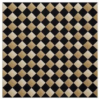 Svart diagonala kontroller/guld- damast DCRX Tyg