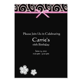 Svart diamant på rosa sötsak 16 födelsedag 12,7 x 17,8 cm inbjudningskort