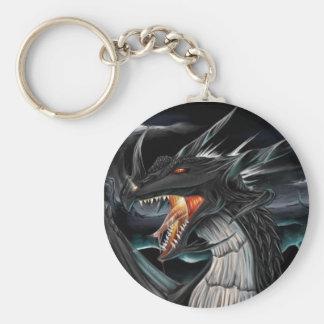 Svart drake Keychain Rund Nyckelring