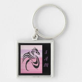 Svart drake på Pinks Fyrkantig Silverfärgad Nyckelring