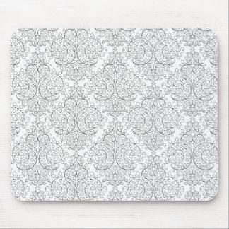 Svart elegant damast för vit musmatta