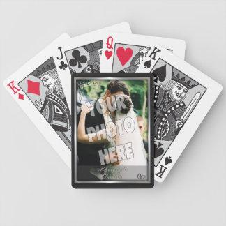 Svart elegant och mall för silverbröllopfoto spelkort