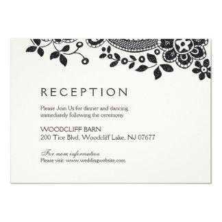 Svart elegantt mottagande för vintagesnörebröllop 11,4 x 15,9 cm inbjudningskort