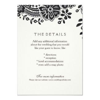 Svart elegantt vintagesnörebröllop specificerar 11,4 x 15,9 cm inbjudningskort