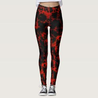 Svart energi som är röd och, flammar leggings