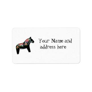 Svart etikett för Dala hästadress Adressetikett