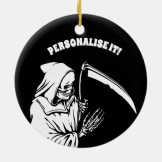 svart f-död julgransprydnad keramik