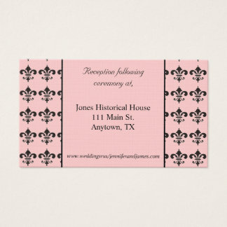 Svart Fleur De Lis Bröllop bilagakort Visitkort
