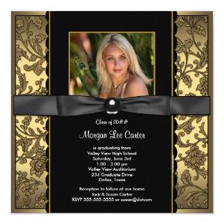 Svart flickor och guld- fotostudenten fyrkantigt 13,3 cm inbjudningskort