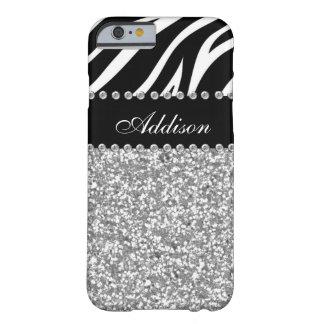 Svart fodral för glittersebraRhinestone Barely There iPhone 6 Fodral