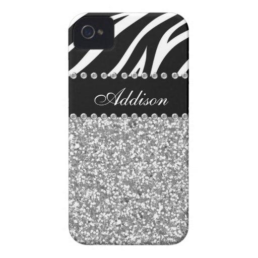 Svart fodral för glitterzebra tryckRhinestone flic iPhone 4 Case-Mate Cases