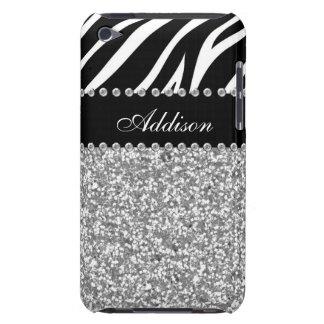 Svart fodral för glitterzebra tryckRhinestone iPod Case-Mate Fodral