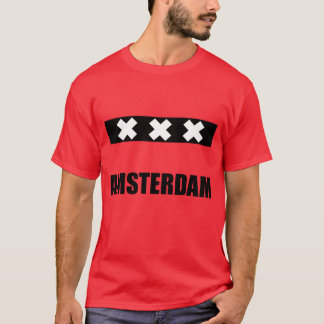 Svart för Amsterdam stadsflagga på rött Tröja