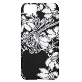 Svart för art nouveauvintageblommigt & vitfodral iPhone 5C fodral