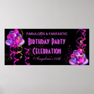 Svart för firande för SHOCK ROSAbanerfödelsedagsfe Poster