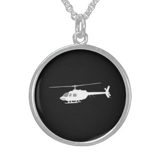 Svart för flyg för helikopteravbrytarSilhouette Sterling Silver Halsband