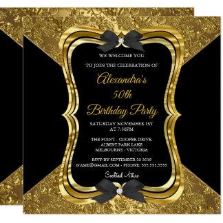 Svart för födelsedagsfest för elegant 50th guld- fyrkantigt 13,3 cm inbjudningskort