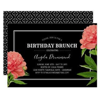 Svart för frunch för pionblommafödelsedag 12,7 x 17,8 cm inbjudningskort